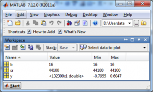 Figure 2.40 Workspace in MATLAB showing results of wavread function