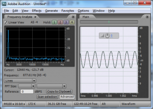 Figure 2.41 Frequency analysis view (left) and waveform view (right) in Adobe Audition, showing audio dat in the frequency domain and time domain, respectively