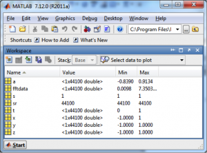 Figure 2.46 Workspace in MATLAB showing values and types of variables currently in memory