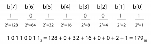 Figure 5.6  An 8-bit binary number converted to decimal